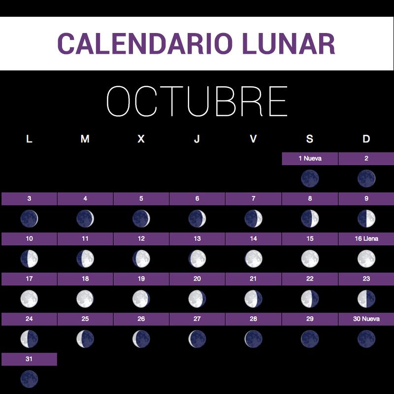 Calendario lunar octubre