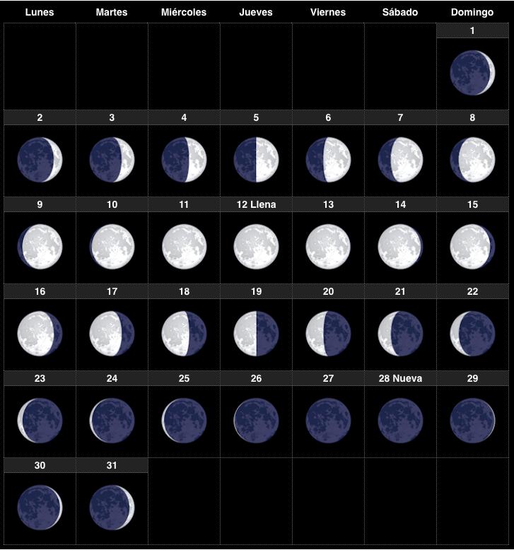 Calendario lunar enero 2017